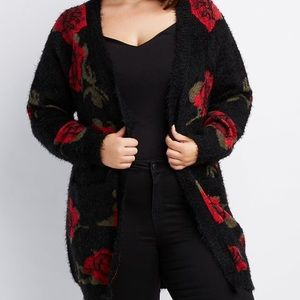 Sweaters - Feather knit floral cardigan